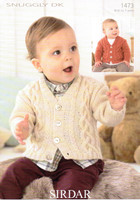 Baby / Boys Pattern for a Cabled Cardigan Pattern | Sirdar Snuggly DK 1473