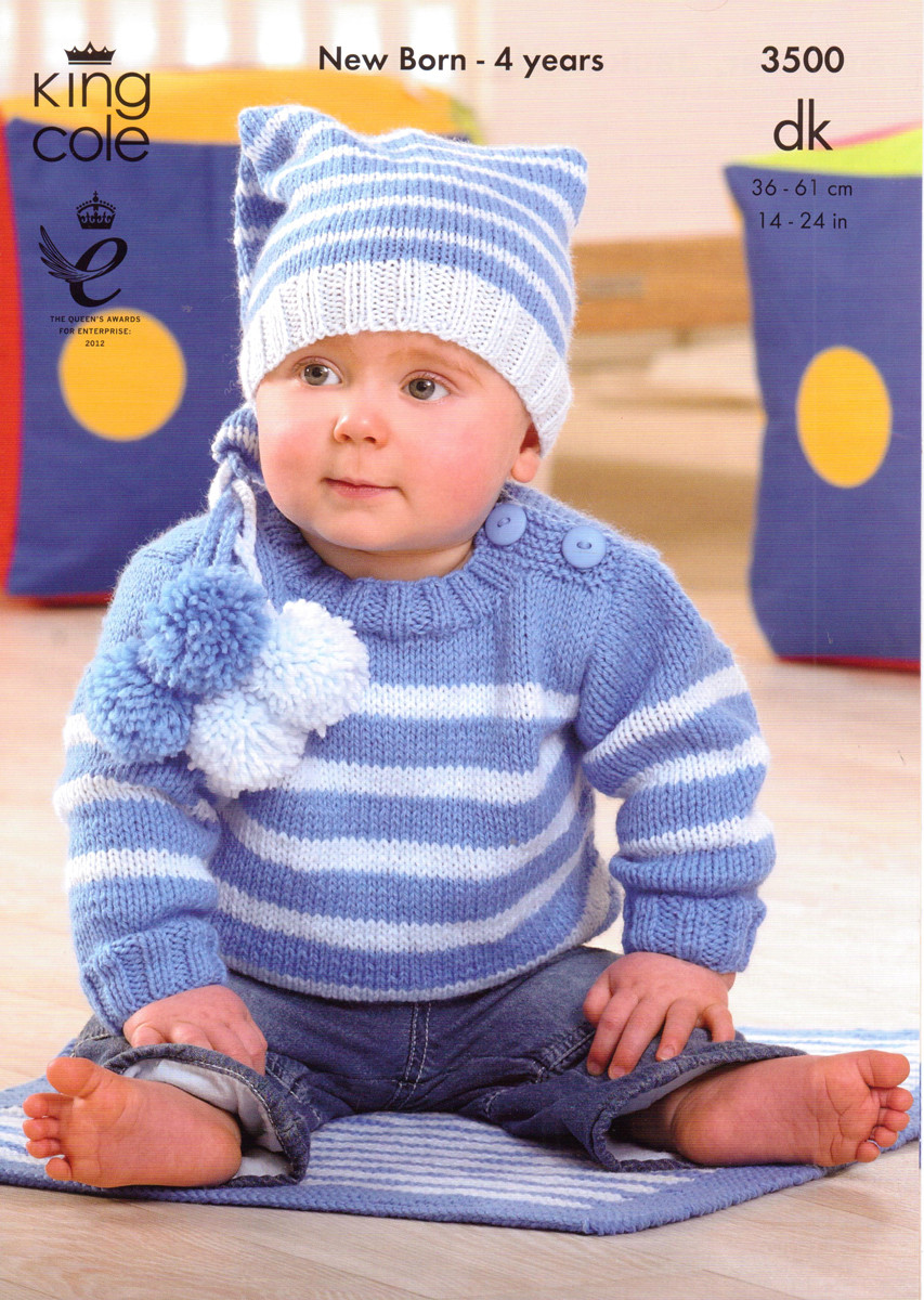 Baby / Childs Sweater, Jacket, Hat & Blanket Pattern | King Cole 3500