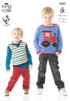 Baby and Childrens Tractor Sweater, Pullover and Blanket DK Pattern   3862   King Cole DK - Image 1