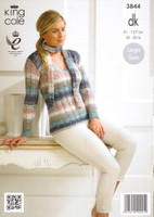 Lacy Sweaters and a Scarf DK Knitting Pattern | King Cole Shine DK 3844