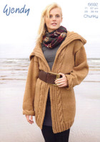 Long Cabled Coat & Jacket Chunky Knitting Patterns | Wendy Mode Chunky 5692