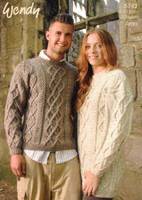 Sweater and Tunic Aran Knitting Pattern | Wendy Aran 5742