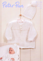 Baby Cable Edged Jacket and Bobble Hat DK Pattern   Peter Pan DK 1176