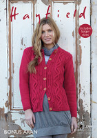Cabled Womens Cardigan Aran Pattern | Hayfield Aran 7799
