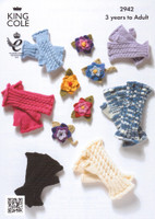 Cabled Fingerless Gloves and Corsage Pattern   King Cole 2942
