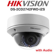 HIKVISION DS-2CD2742FWD-IZS HD Dome Camera 4MP Motorised Varifocal Lens IR Range 30M IP Outdoor (White)