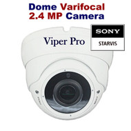 Viper Pro - CCTV Dome Camera 1080p Sony Starvis 2.4MP Varifocal Lens Night Vision for HD TVI CVI AHD Analogue DVR Outdoor (White)