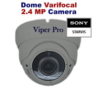 Viper Pro - CCTV Dome Camera 1080p Sony Starvis 2.4MP Varifocal Lens Night Vision for HD TVI CVI AHD Analogue DVR Outdoor (Grey)