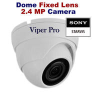 Viper Pro - CCTV Dome Camera 1080p Sony Starvis 2.4MP Fixed Lens Night Vision for HD TVI CVI AHD Analogue DVR Outdoor (White)