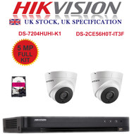 KIT: 4 Channel HIKVISION DS-7204HUHI-K1 DVR Recorder 5MP HD TVI & 2x HIKVISION DS-2CE56H0T-IT3F Dome Camera CCTV