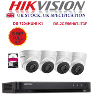 KIT: 4 Channel HIKVISION DS-7204HUHI-K1 DVR Recorder 5MP HD TVI & 4x HIKVISION DS-2CE56H0T-IT3F Dome Camera CCTV