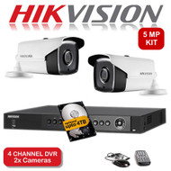 KIT: 4 Channel HIKVISION DS-7204HUHI-K1 DVR Recorder 5MP HD TVI & 2x HIKVISION DS-2CE16H0T-IT3F Bullet Camera CCTV