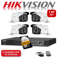 KIT: 4 Channel HIKVISION DS-7204HUHI-K1 DVR Recorder 5MP HD TVI & 4x HIKVISION DS-2CE16H1T-IT3 Bullet Camera CCTV