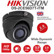 HIKVISION DS-2CE56D8T-ITM/G Dome Camera 1080p 2MP Fixed Lens IR Range 20M HD TVI TURBO EXIR WDR In/Out door (Grey)