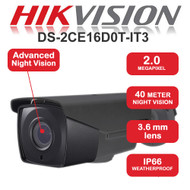 HIKVISION DS-2CE16D0T-IT3/G Bullet Camera 1080p 2.0MP Fixed lens IR Range 40M HD TVI Turbo In/Out door (Grey)