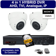KIT: 4 Channel 4 in 1 HYBRID DVR Recorder HD & 2x Dome Camera Sony ViperPro 1080p 2.4MP Varifocal lens CCTV (White)