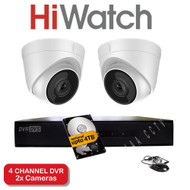HiWatch 204G-F1 4 Channel DVR Recorder & 2x HiWatch THC-T220 Dome Cameras