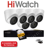 HiWatch 208G-F1 8 Channel DVR Recorder & 6x HiWatch THC-T220 Dome Cameras