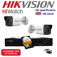4 Channel HiWatch 204G-F1 DVR Recorder HD & 2x HiWatch Bullet Camera THC-B220 1080p 2MP 40M Night Vision HYBRID CCTV