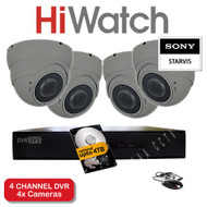 HiWatch 204G-F1 4 Channel DVR Recorder & 4x Varifocal Dome Cameras 30M Night Vision 2.4MP HYBRID Sony Starvis