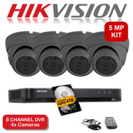 KIT: 5MP 8 Channel HIKVISION DS-7208HUHI-K1 DVR Recorder & 4x 5 MP Fixed lens Sony ViperPro Dome Camera 1080p 2.4MP 20M Night Vision HYBRID CCTV (Grey)
