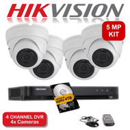 KIT: 5MP 4 Channel HIKVISION DS-7204HUHI-K1 DVR Recorder & 4x 5 MP Fixed lens Sony ViperPro Dome Camera 1080p 2.4MP 20M Night Vision HYBRID CCTV (White)