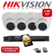 KIT: 5MP 8 Channel HIKVISION DS-7208HUHI-K1 DVR Recorder & 4x 5 MP Fixed lens Sony ViperPro Dome Camera 1080p 2.4MP 20M Night Vision HYBRID CCTV (White)