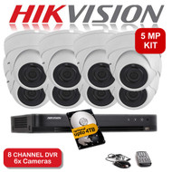 KIT: 5MP 8 Channel HIKVISION DS-7208HUHI-K1 DVR Recorder & 8x 5 MP Fixed lens Sony ViperPro Dome Camera 1080p 2.4MP 20M Night Vision HYBRID CCTV (White)