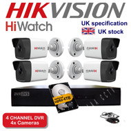 KIT: 4 Channel HiWatch 204G-F1 DVR Recorder HD & 4x HiWatch Bullet Camera THC-B220 1080p 2MP 40M Night Vision HYBRID CCTV (White)