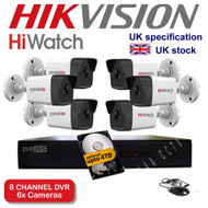 KIT: 8 Channel HiWatch 208G-F1 DVR Recorder HD & 6x HiWatch Bullet Camera THC-B220 1080p 2MP 40M Night Vision HYBRID CCTV (White)