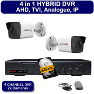KIT: 4 Channel AHD HDTVI HDCVI DVR Recorder HD & 2x HiWatch THC-B220 Bullet Camera 1080p 2MP 40M Night Vision HYBRID CCTV