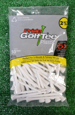 Golf Pride Plastic White Golf Tees - 2 3/4""