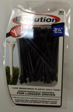 "Pride Tee Evolution Plastic Golf Tees - 3 1/4"" - Black"
