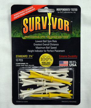 "Survivor Golf Tees 2 3/4"" - White & Yellow"