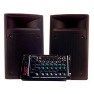 Nady Access PSS-300 Full Range Portable PA w/ 8-Channel Mixer and Two Speakers- 300 Watts
