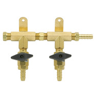 2 Product Beer Gas Manifold - Modular Brass - DTM1402