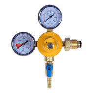 Double Beer Regulator Gauge - Nitrogen Regulator - with Shut-Off Valve - R1202