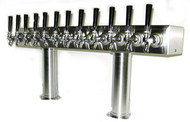Double Pedestal - 12 Faucets - Brushed Stainless Steel Beer Tower - Air Cooled Beer