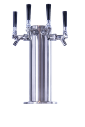 "4"" Stainless Steel Beer Tower w/ 304 S/S Faucets and Draft Beer Shanks - DT624"