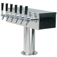 'T' Style Draft Beer Tower - 8 Faucet Brushed Stainless Steel - Air Cooled