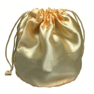 Peach Satin Drawstring Pouch