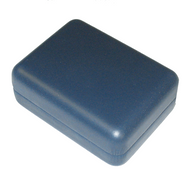 Blue leatherette metal pendant box
