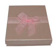 Shiny pink embossed 2-piece paper box with pink organza ribbon 3