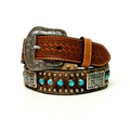 Leather Cowhide(color will vary) with Blue Stones, Silver Rivets and Square Conchos, width 1 1/4""