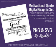 Motivational Quote Digital Set- Mario Andretti - Instant Download - PNG (digital sticker) & SVG (digital cut file!)