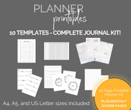Printable Planner Templates Kit - Journal printables / planner inserts for A4, A5 and US Letter Journals - Instant Download