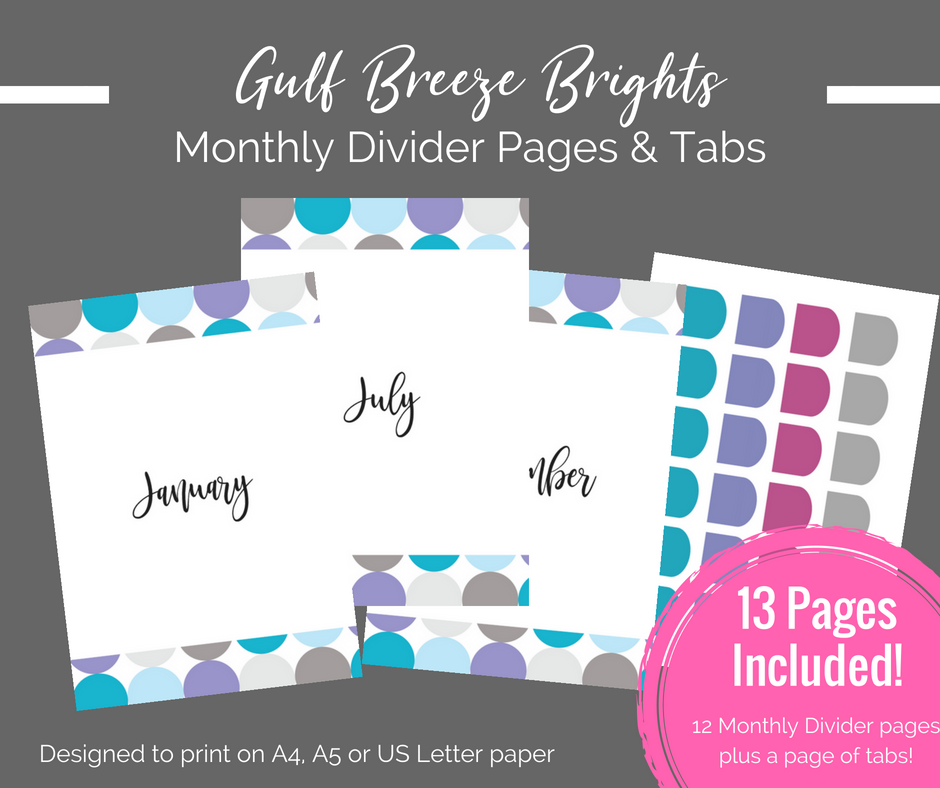 image relating to Printable Journal Pages Pdf identify Printable Planner - Month-to-month Dividers + Tabs printable magazine internet pages - Quick Obtain PDF Bujo / bullet magazine printables