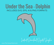 Under the Sea - Dolphin- svg, eps, AI, png digital download - digital grapic - digital cut file - clipart