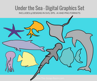 Digital Graphics -Under the Sea Set of 9 - Fish, Stingray, Shark, Jellyfish, Dolphin, Whale, Starfish - svg, eps, ai & png digital download