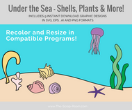 Digital Graphics -Under the Sea Set- sea shells, jellyfish, seaweed, starfish, sea plume, sand, coral - svg, eps, ai & png digital download